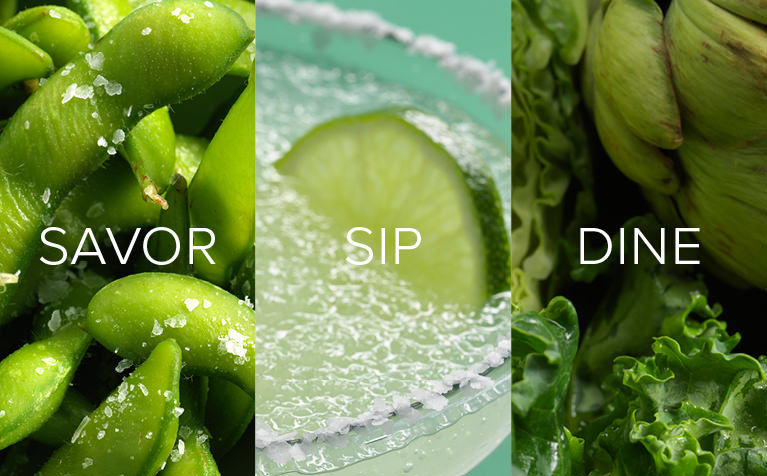 Image of green peapods, a margarita cocktail with a green lime, and green vegetables with Save, Sip, Dine written in white text